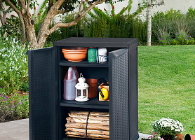 Садовый шкаф Rattan Style Base Utility Shed Allibert, Keter