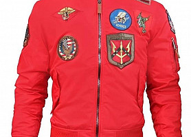 Бомбер Top Gun MA-1 Lightweight Bomber Jacket With Patches(Red)