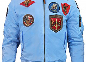 Куртка Top Gun MA-1 lightweight nylon jacket with patches (Blue)
