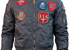 Бомбер Top Gun MA-1 Nylon Bomber Jacket With Patches (Grey)