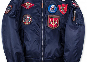 Top Gun MA-1 Nylon Bomber Jacket With Patches (Blue)
