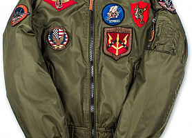 Оригинальный бомбер Top Gun MA-1 Jacket With Patches (Olive)