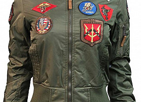 Женский Бомбер Miss Top Gun MA-1 Jacket With Patches (Olive)