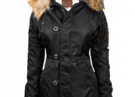 Женская Аляска Miss Top Gun Fitted Nylon N-3B Parka (Black)