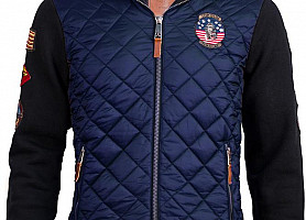 Куртка-Реглан Top Gun Quilted Fleece Hoodie With Patches (Blue)