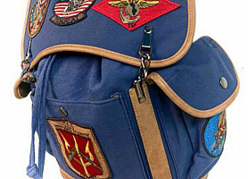 Рюкзак Top Gun Canvas Backpack With Patches (Blue)